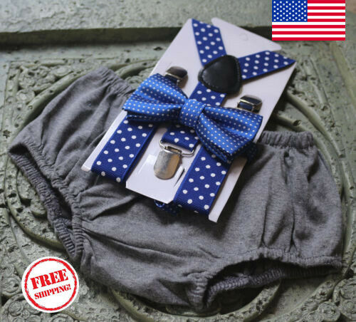 1st Birthday boy cake smash bow tie suspenders Drak gray royal blue pol bloomer