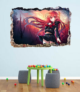 Anime Girl Smashed 3d Wall Decal Manga Sticker Mural Art Home Decor