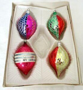 Vintage-Mercury-Glass-Christmas-Ornaments-Teardrop-Lot-of-4-Glitter