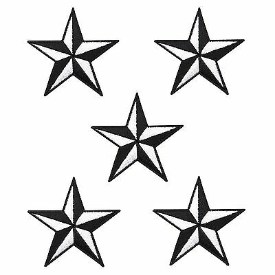 """5 LOT NAUTICAL STAR Black Embroidered Iron Sew On Jacket Hat Patch Applique 2"""""""