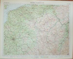 Details about 1955 LARGE MAP FRANCE NORTH EAST ~ PARIS REIMS BOULOGNE  CALAIS BRUSSELS NANCY