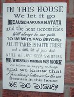 In this house we let it go disney phrase quotes sign plaque we do disney