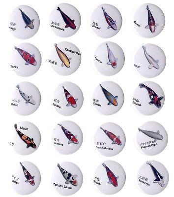 20 Koi Fish Badge Set Sanke Kohaku Ochiba Tancho