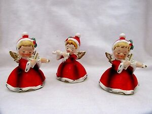 image is loading 3 1960s napco christmas angels musicians x 7258 - Christmas Angel Figurines