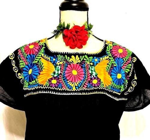 garza Plus contadina messicana ricamata hippie Szs Camicetta floreale donne Top Oaxaca 0YzawaZq