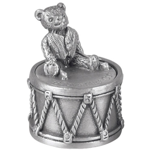 Christening Gift Pewter Teddy Bear Sitting on Drum First Tooth Box
