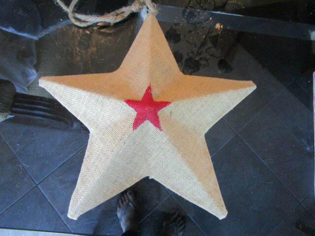 "Pottery Barn BURLAP HANGING STAR 15"" 4th July American new ..."