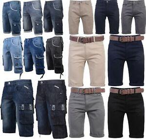 Uomo crosshatch Marca Tela Stile Cargo Pantaloncini Tasche Girovita 30, 36, 38