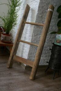 j4 Kleiderständer, Original Alte Schöne 3-sprossige Holzleiter 96cm Handtuchhalter