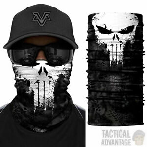 Punisher-Multi-function-Scarf-Snood-Bandana-Airsoft-Face-Mask-Head-Cover-Hat-UK