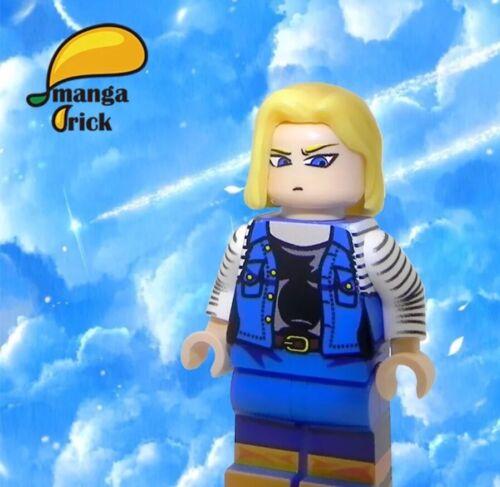 **New**MANGA BRICK Custom Dragon Ball Android 18 Lazuli Lego Minifigure
