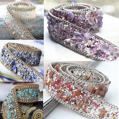 50CM Rhineston Beaded Lace Trim Wedding Dress Clothing Decor IronOn / Sew on
