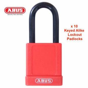 10-x-Keyed-Alike-ABUS-LOTO-PADLOCKS-Safety-Lockout-Padlock-40mm-RED-Free-Post