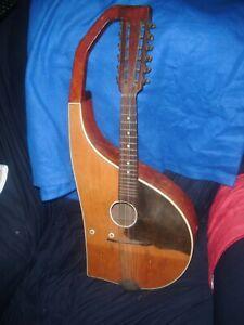 Very Rare Hollow Arm Harp Madriola or 12 String Mandolin 68 cm Long