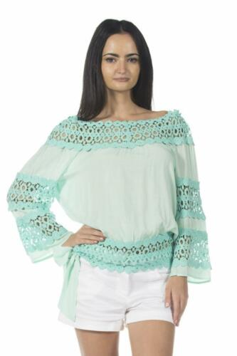 Pastel Green Crochet Boat Neck Spring Summer Peasant Top 01 zz Blouse S M L XL