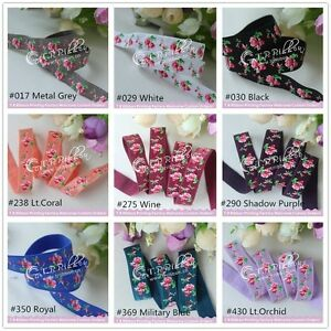 2m-5-8-034-Soft-FOLD-OVER-ELASTIC-15mm-ROSE-patterned-Tutu-Trim-headband-FOE