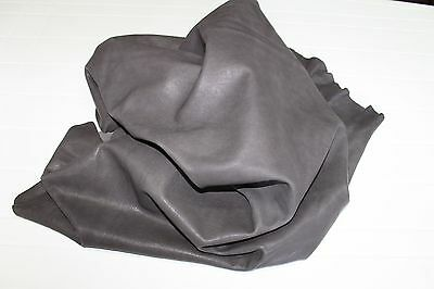 Italian CALF thick leather skin hide WASHED ANTIQUED VERY DARK BROWN 15sqf