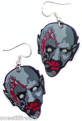 HALLOWEEN BLOODY ZOMBIE GUITAR PICK EARRINGS! HORROR PUNK GOTHIC! WALKING DEAD