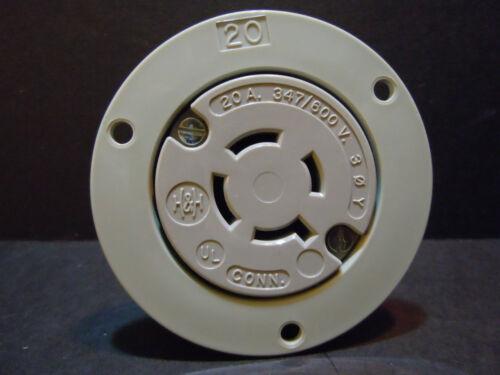 20 Amp 347//600V Flanged Twist Lock Receptacle L23-20 2 Pole 3 W Equal to HBL2536