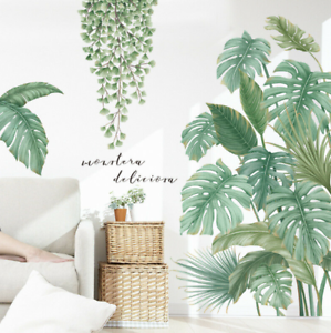 Tropical-Green-Plants-Palm-Leaves-Vines-Garland-Wall-Decals-Vinyl-Decal-DIY-AU