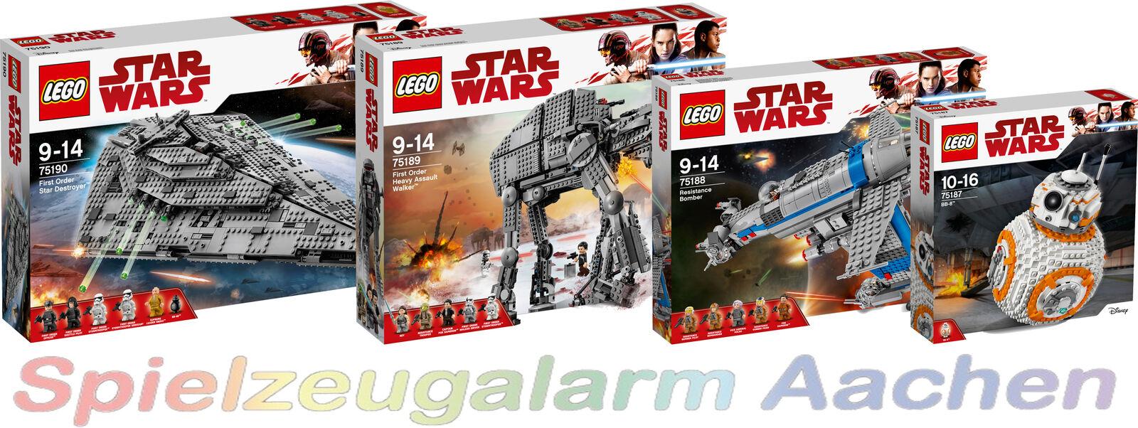 LEGO ® Star Wars 75190+75189+75188+75187 Star Destroyer Walker Resistance Bomber