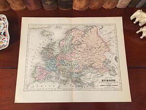 Original 1892 Antique Map EUROPE London Paris Rome Prague Venice Budapest Berlin