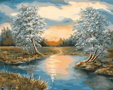 """Wooden Framed Paint by Number Kits, Sunset on the River, 13.4""""X 17.3"""""""