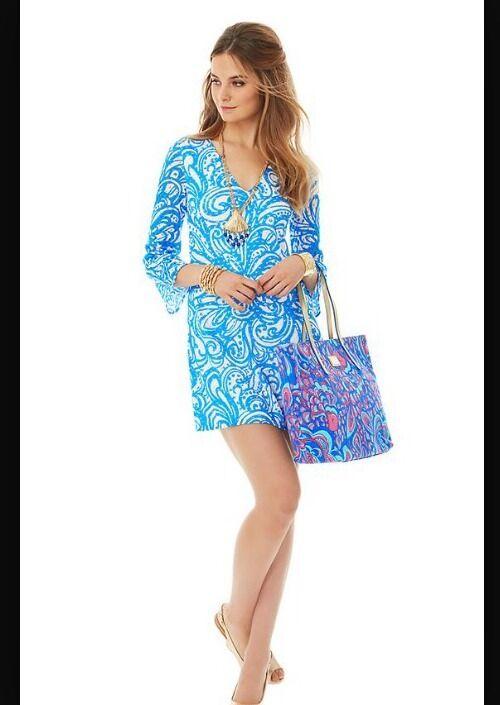 NWT Lilly Pulitzer Jade Tunic Dress Resort vit Nurse Affairs XS
