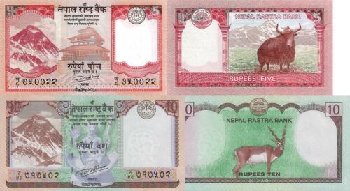 - p76 2017 p77 UNC Nepal 2 Note Set: 5 /& 10 Rupees