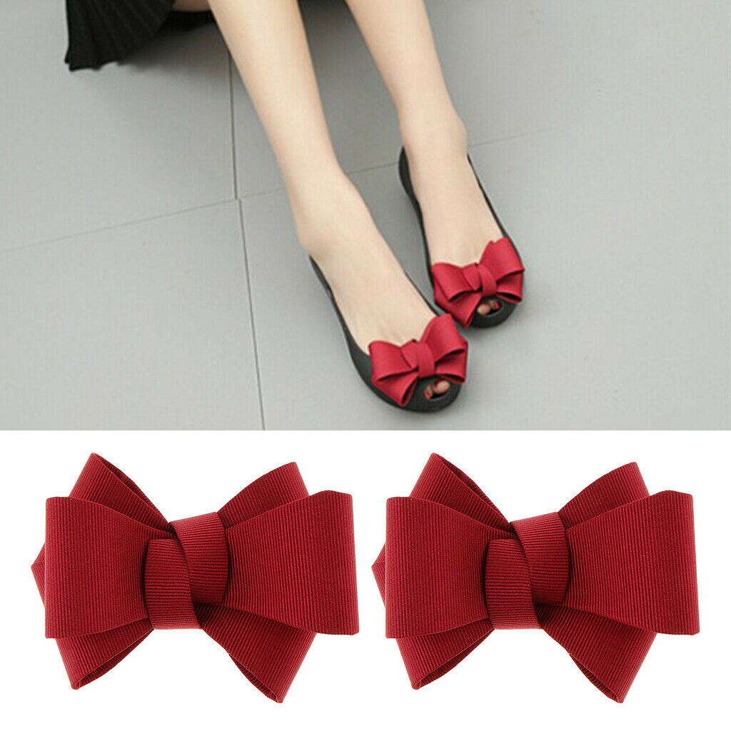 Pair Wedding Bowknot Shoe Buckles Shoe Clips Removable High Heels Decors Red