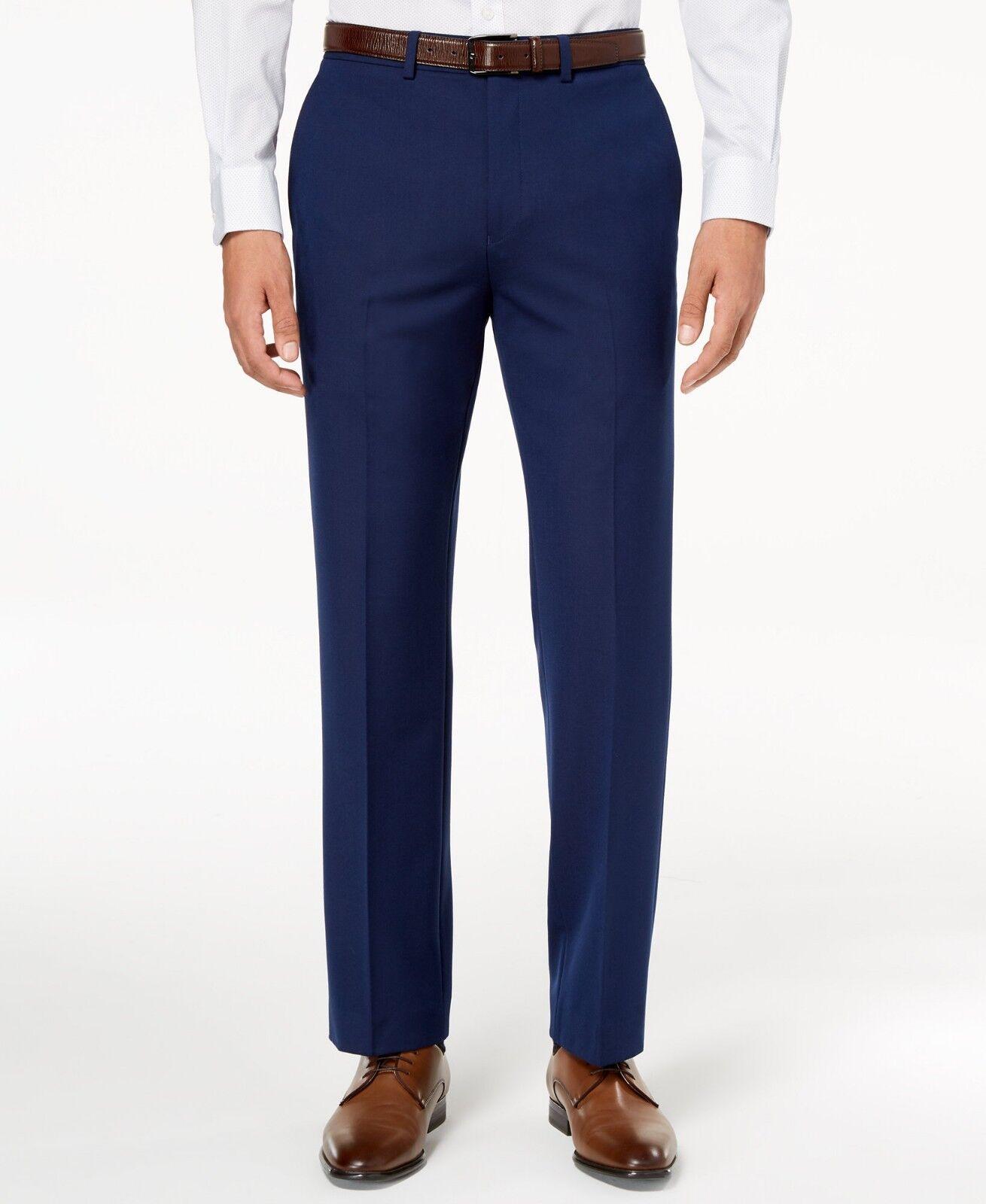 RYAN SEACREST Mens blueE FIT FLAT FRONT DRESS PANTS TROUSERS 38 W 30 L