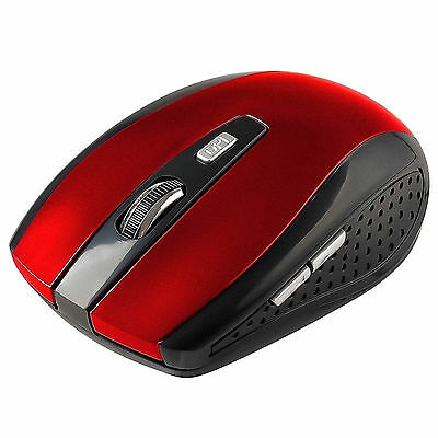 2.4GHz Red Wireless Optical Mouse Mice + USB Receiver for PC Laptop Macbook