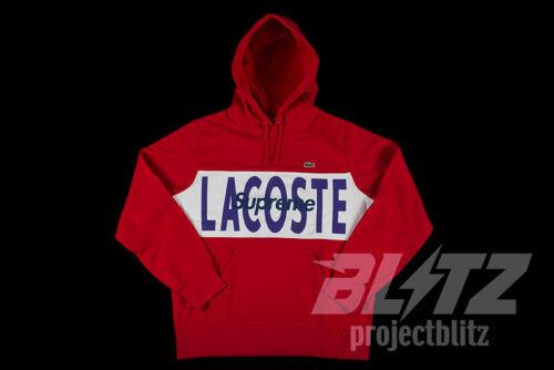 SUPREME LACOSTE LOGO PANEL HOODED SWEATSHIRT RED S M L XL FW19 NAVY BLACK HOODIE