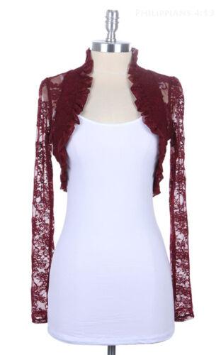 Women`s Long Sleeves Lace Bolero Shrug Cropped Cardigan Short Jacket Colors Plus