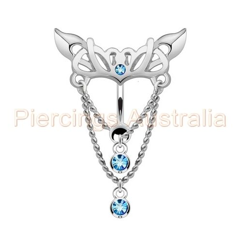 Gem Heart Wing Chain Reverse Belly Button Bar Navel Ring Body Jewellery