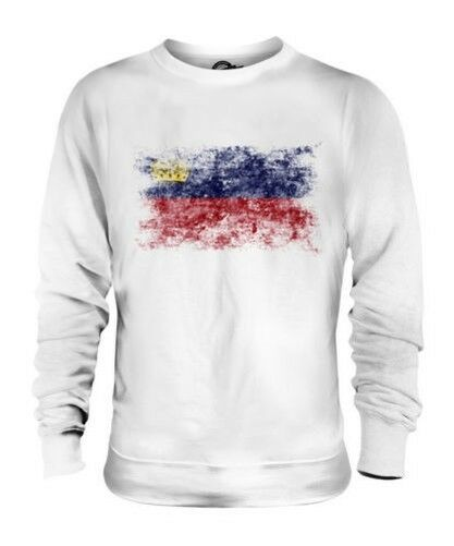 LIECHTENSTEIN DISTRESSED FLAG UNISEX SWEATER TOP GIFT SHIRT CLOTHING JERSEY