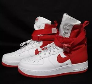 66485ca2be26 2018 Nike Air Force 1 High SF AF1 Special Field White Uni Red AR1955 ...