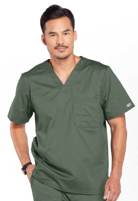 Cherokee Workwear Scrubs Short Sleeve Top 4743 OLVW Olive Free Shipping