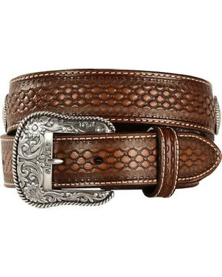Ariat Western Mens Belt Leather Beaded Basketweave Floral Conchos Brown A1013248