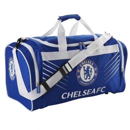 Chelsea Football Club Crest Large Blau & Weiß Sport Tasche Holdall SP