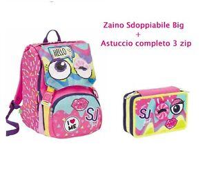 aspetto dettagliato 09858 0e2dd SCHOOLPACK SEVEN SJ FACCE ZAINO sdoppiabile big + ASTUCCIO 3 zip ...