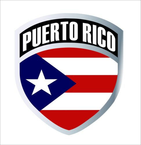 Puerto Rico Rican Flag Shield Har Hat Helmet Decal Badge Sticker Waterproof