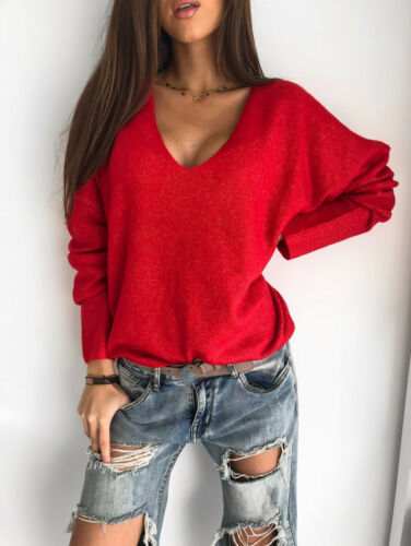 Loose Solid Sweater Long Sleeve Women Knitted Cashmere Pullover V Neck