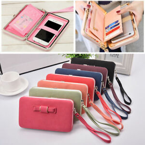 Womens-Large-Capacity-Bowknot-Wallet-Long-Purse-Card-Phone-Holder-Clutch-Bag-JD
