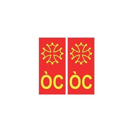 ÒC Occitan croix autocollant plaque fond rouge -  Angles : arrondis