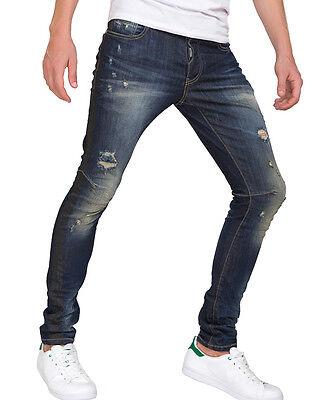 Red Bridge Herren Ripped Röhrenjeans Jeans Hose blau M4103 destroyed Skinny