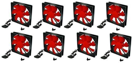 8-pcs Xion AXP-GF120/_RD 120mm Case Fan w//4-Screws LOT of 3//4 pin