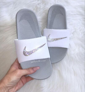 3a78d6721cb5d Details about Nike KAWA Slides White customized with Swarovski Crystals
