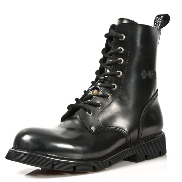 NEWROCK New Rock Newmili084-C9 Black Military Biker Unisex 8 Hole Gothic Boots
