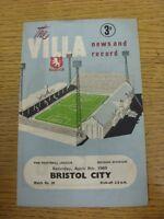 09/04/1960 Aston Villa v Bristol City  (Creased, Folded, Worn, Score Noted Insid